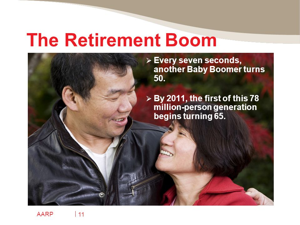 AARP 11 The Retirement Boom  Every seven seconds, another Baby Boomer turns 50.