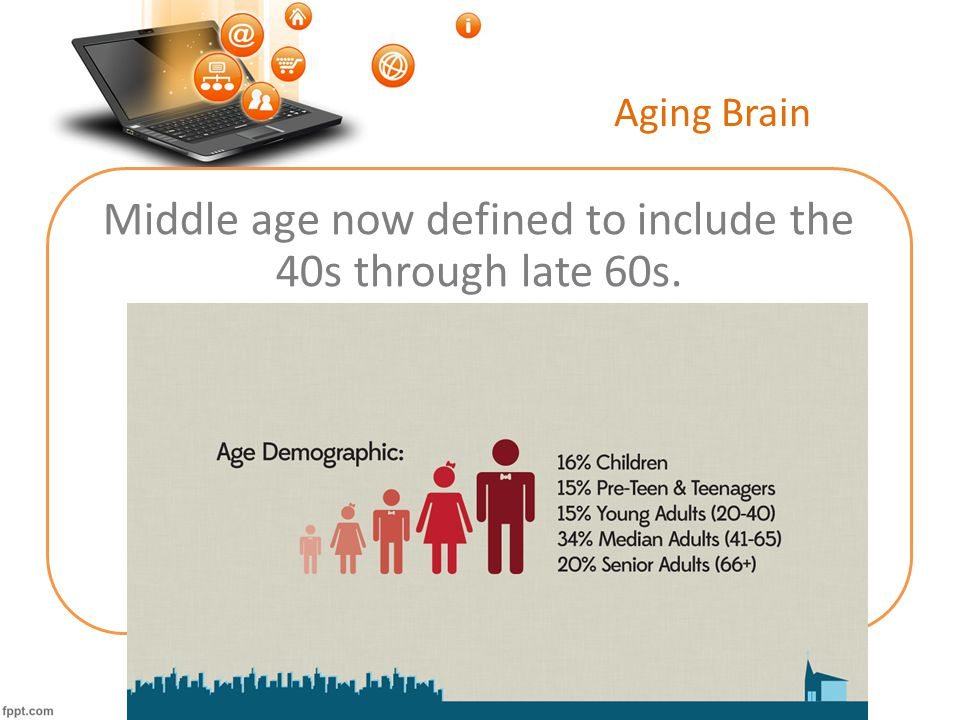 Aging Brain Middle age now defined to include the 40s through late 60s.