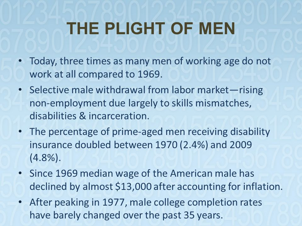 THE PLIGHT OF MEN Today, three times as many men of working age do not work at all compared to 1969. Selective male withdrawal from labor market—risin