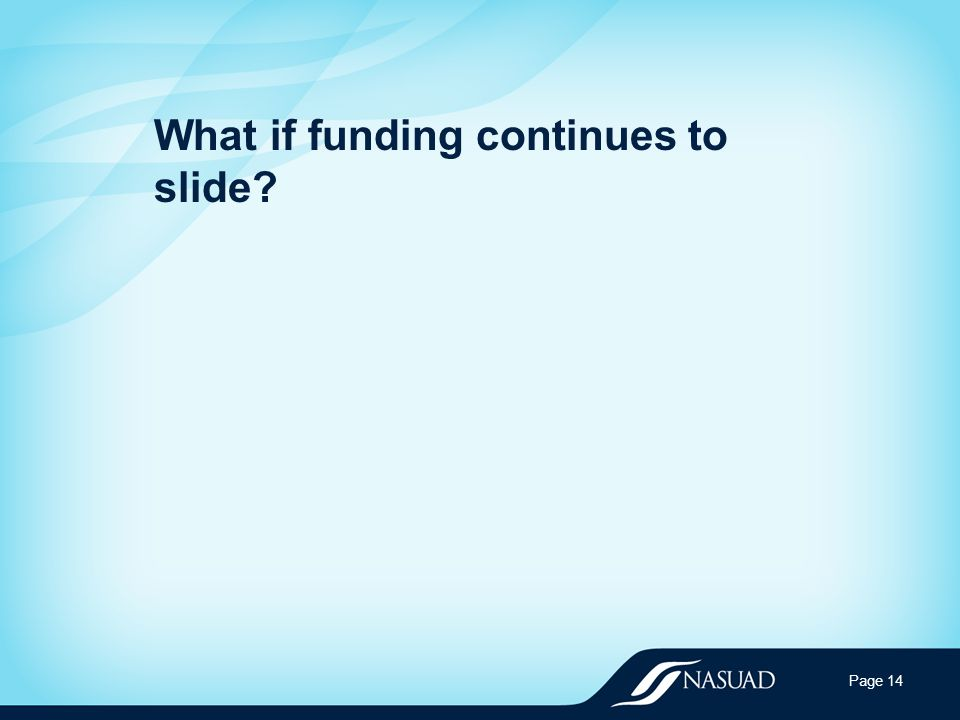 What if funding continues to slide Page 14