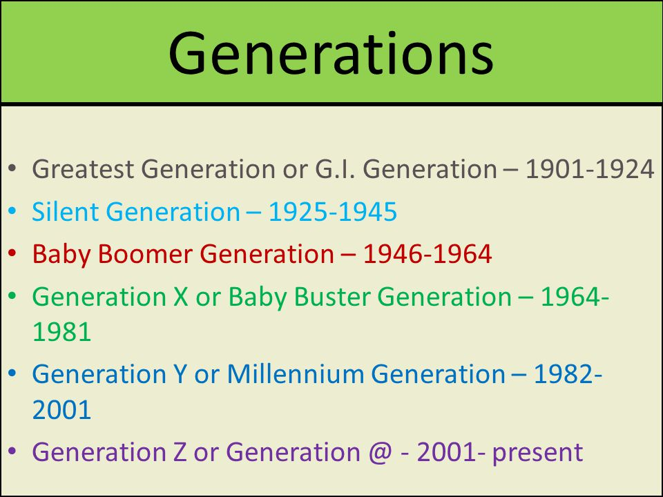 Generations Greatest Generation or G.I.