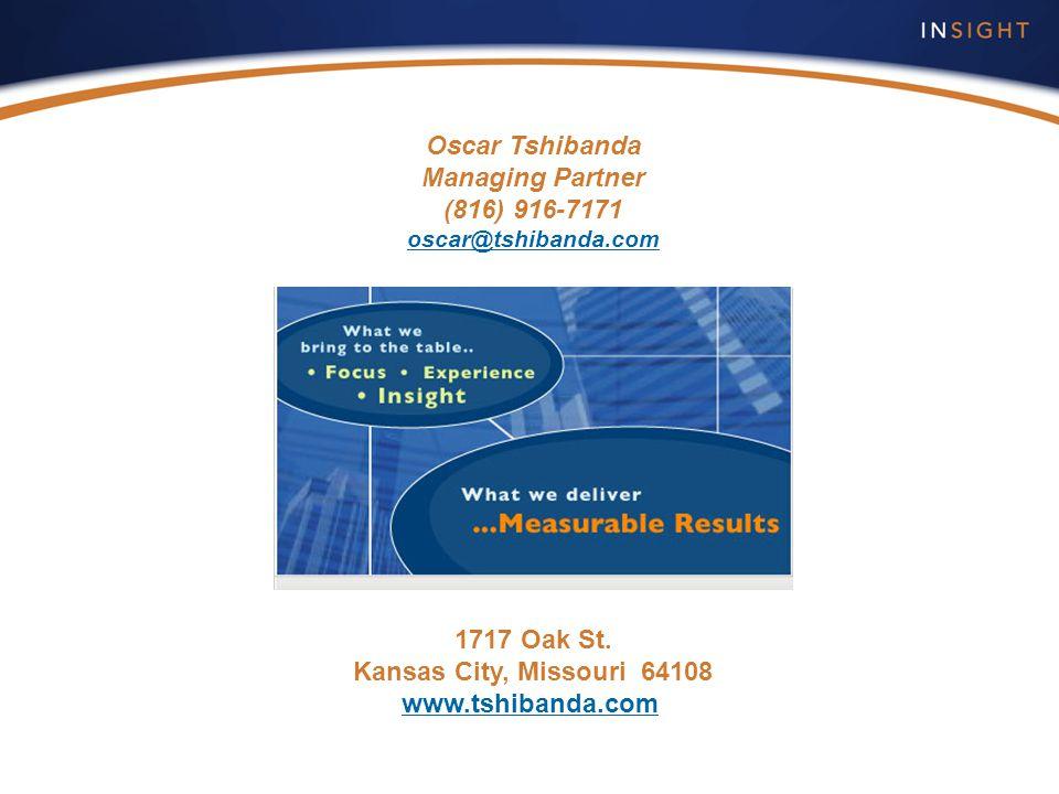1717 Oak St. Kansas City, Missouri 64108 www.tshibanda.com Oscar Tshibanda Managing Partner (816) 916-7171 oscar@tshibanda.com