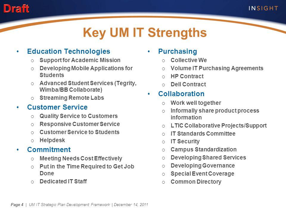 | UM IT Strategic Plan Development Framework | December 14, 2011Page 4 Key UM IT Strengths Education Technologies o Support for Academic Mission o Dev