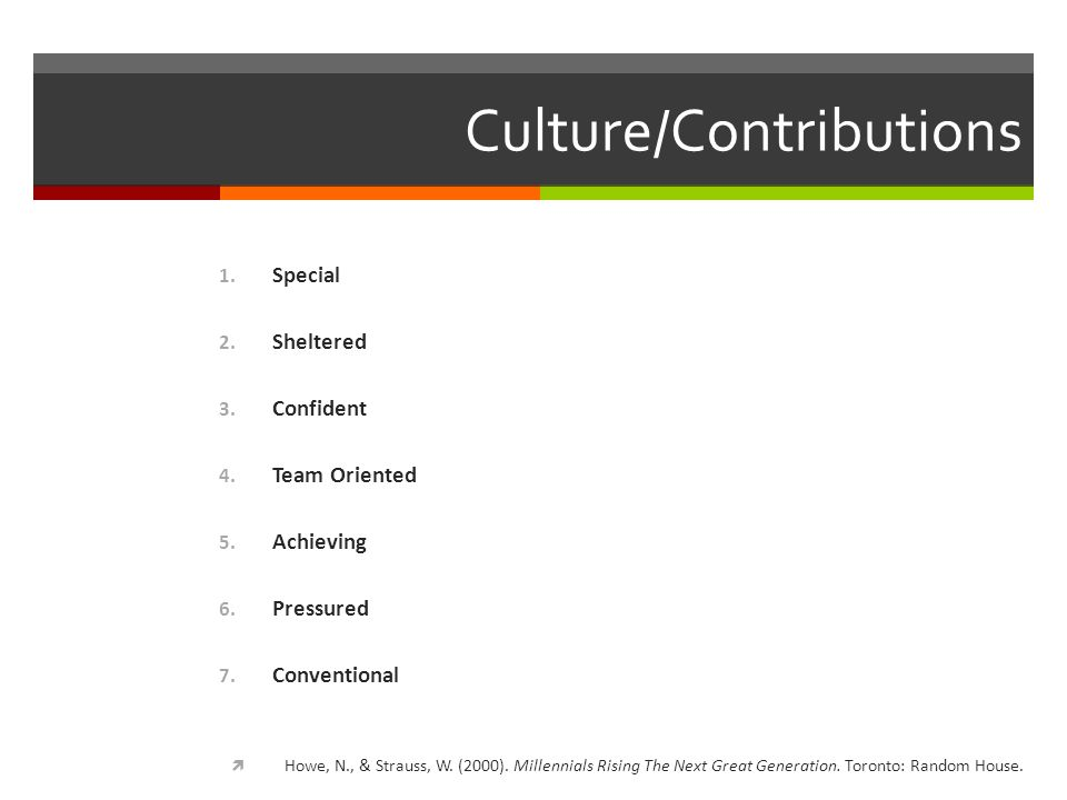 Culture/Contributions 1. Special 2. Sheltered 3.