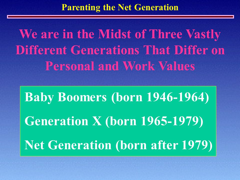 Parenting the Net Generation We are in the Midst of Three Vastly Different Generations That Differ on Personal and Work Values Baby Boomers (born 1946-1964) Generation X (born 1965-1979) Net Generation (born after 1979)