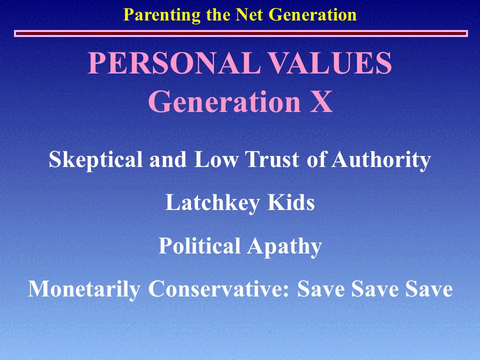 Parenting the Net Generation PERSONAL VALUES Generation X Skeptical and Low Trust of Authority Latchkey Kids Political Apathy Monetarily Conservative:
