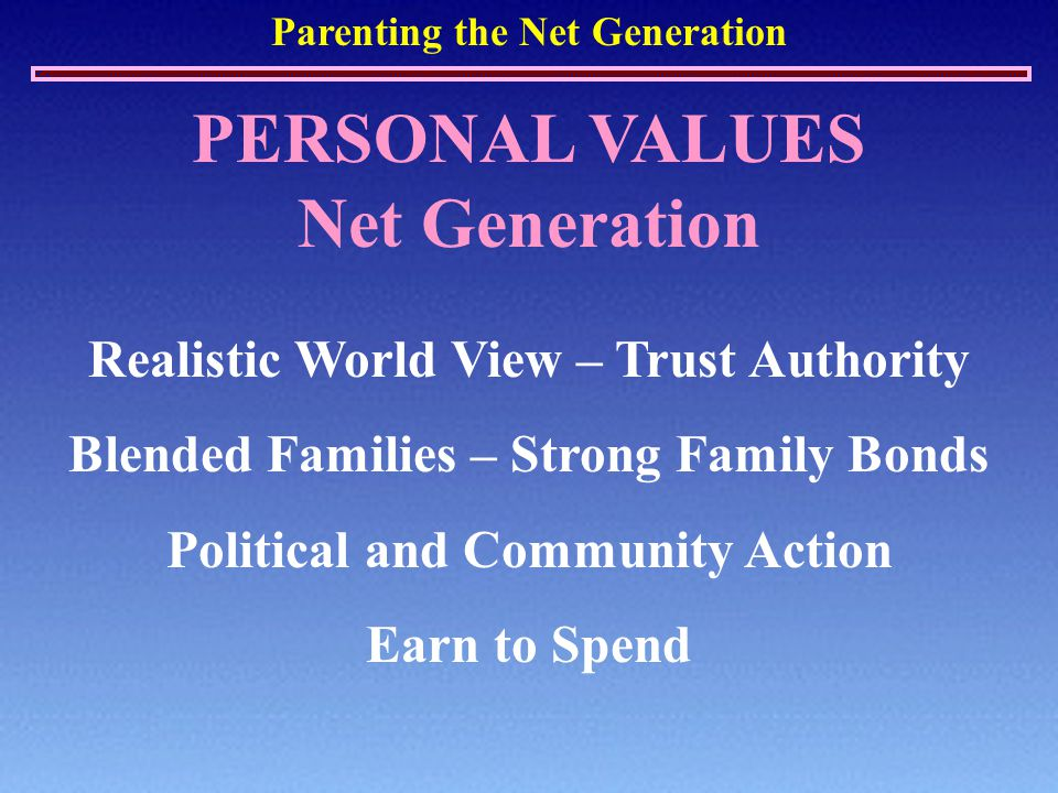 Parenting the Net Generation PERSONAL VALUES Net Generation Realistic World View – Trust Authority Blended Families – Strong Family Bonds Political and Community Action Earn to Spend