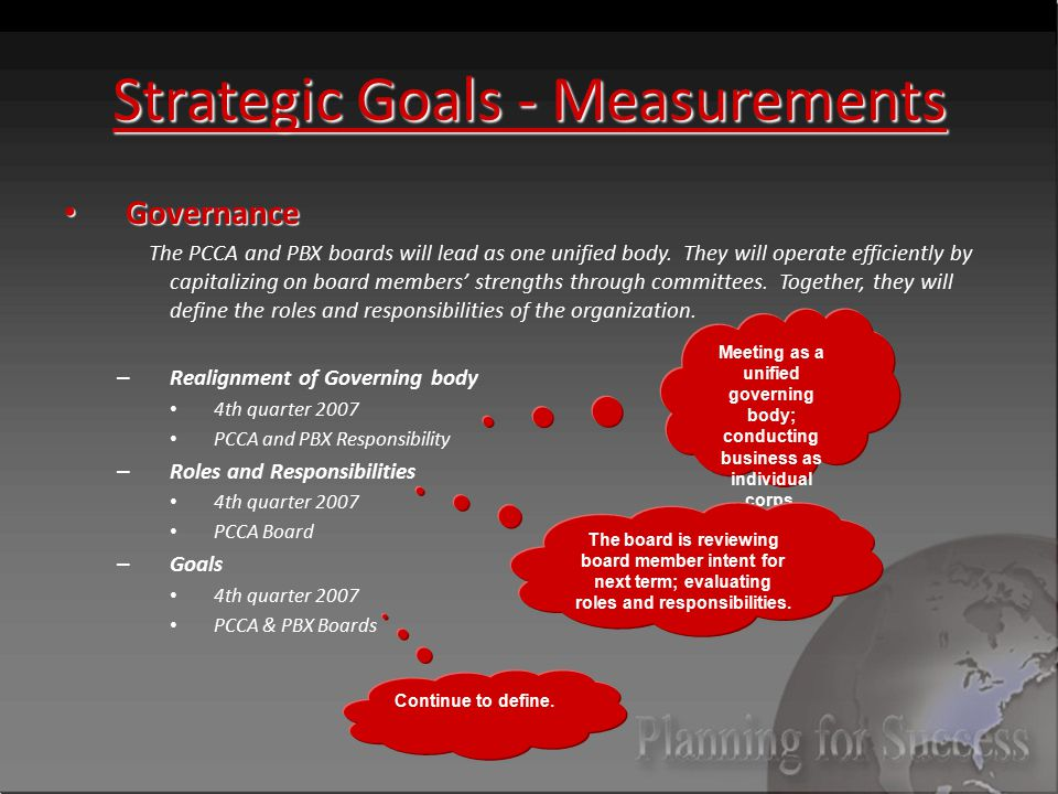 Strategic Goals - Measurements Governance Governance The PCCA and PBX boards will lead as one unified body.