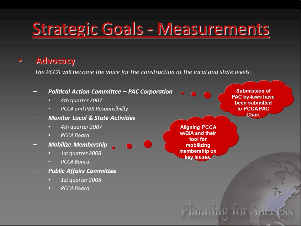Strategic Goals - Measurements Advocacy Advocacy The PCCA will become the voice for the construction at the local and state levels.