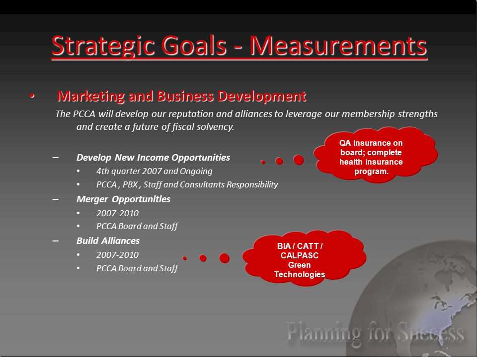 Strategic Goals - Measurements Marketing and Business Development Marketing and Business Development The PCCA will develop our reputation and alliances to leverage our membership strengths and create a future of fiscal solvency.