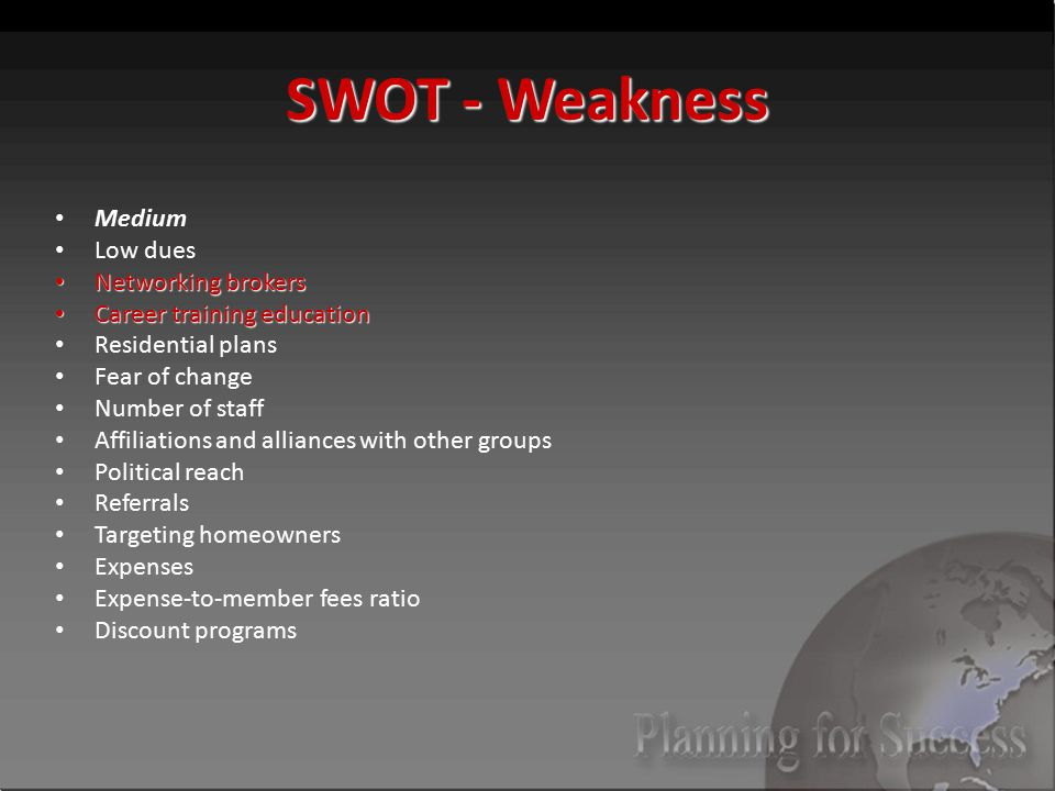 SWOT - Weakness Medium Low dues Networking brokers Networking brokers Career training education Career training education Residential plans Fear of change Number of staff Affiliations and alliances with other groups Political reach Referrals Targeting homeowners Expenses Expense-to-member fees ratio Discount programs