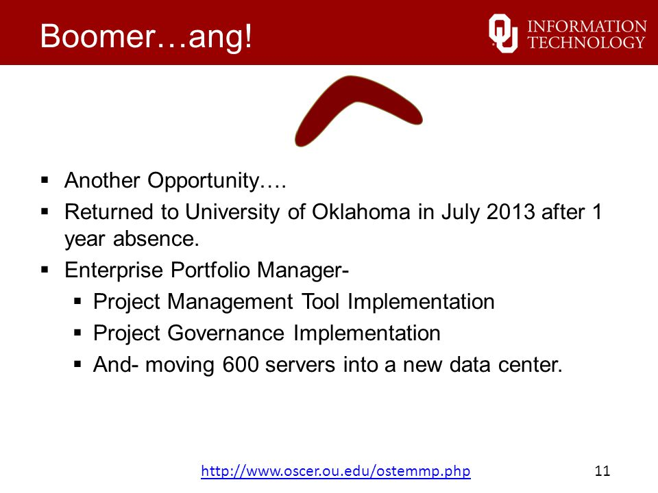 Boomer…ang.  Another Opportunity….