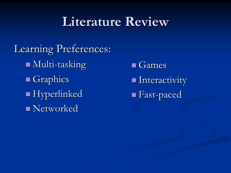 Literature Review Learning Preferences: Multi-tasking Multi-tasking Graphics Graphics Hyperlinked Hyperlinked Networked Networked Games Interactivity Fast-paced