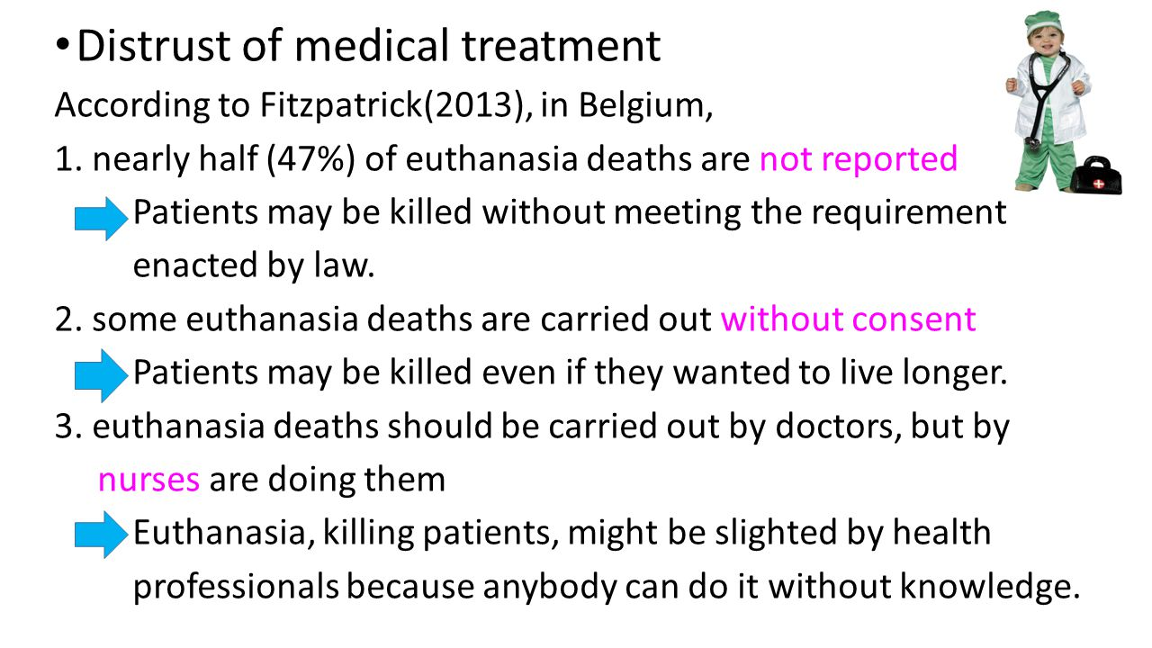 Distrust of medical treatment According to Fitzpatrick(2013), in Belgium, 1.