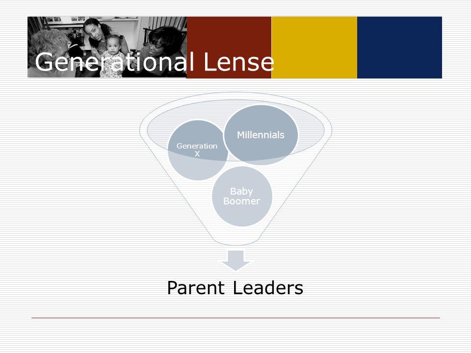 Generational Lense Parent Leaders Baby Boomer Generation X Millennials