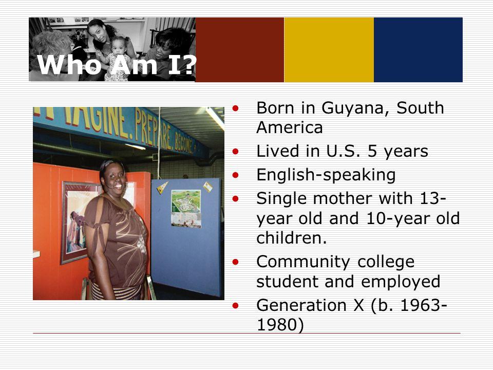 Who Am I. Born in Guyana, South America Lived in U.S.