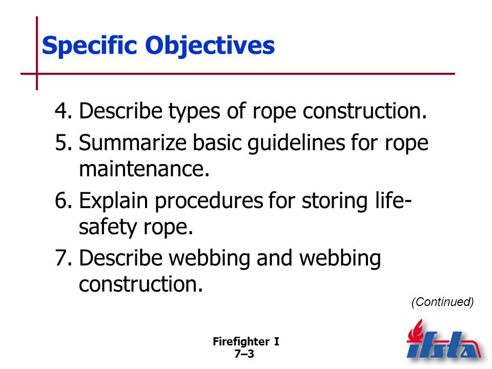Firefighter I 7–34 Bagging Rope Weight of the rope inside bag carries it toward target and rope pays out as bag travels through air Bag may have drawstring and shoulder straps for ease in carrying