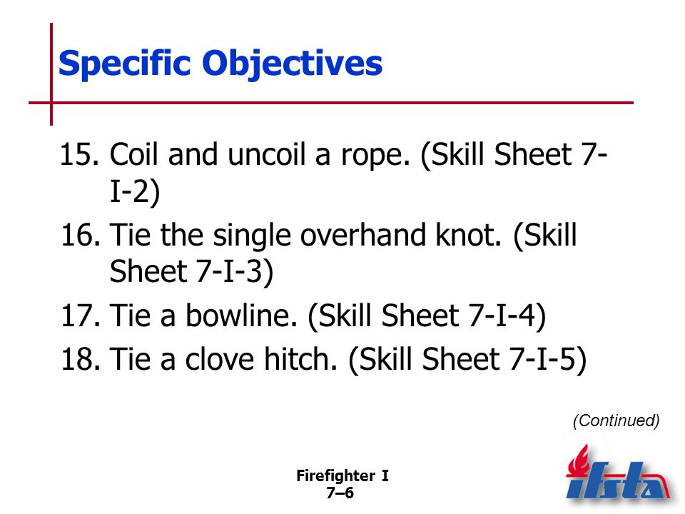 Firefighter I 7–47 Commonly Used Knots Clove hitch –May be formed by several methods –Highly susceptible to failure –May be formed anywhere in rope –Withstands steady pull in either direction –May need to be backed up with overhand safety knot (Continued)
