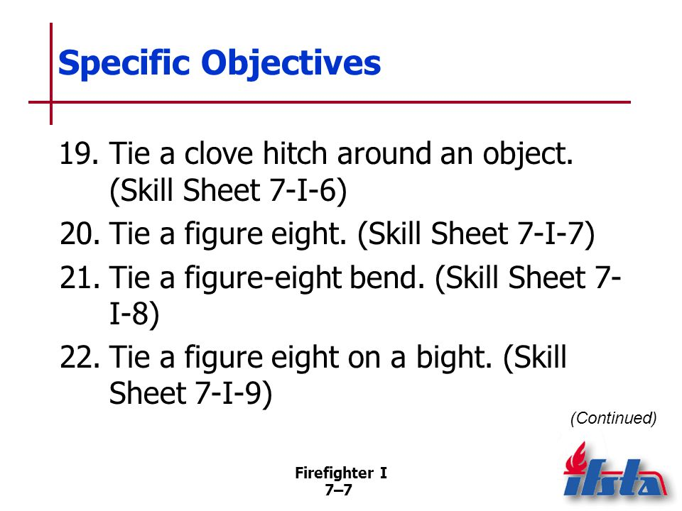 Firefighter I 7–8 Specific Objectives 23.Tie a becket bend.