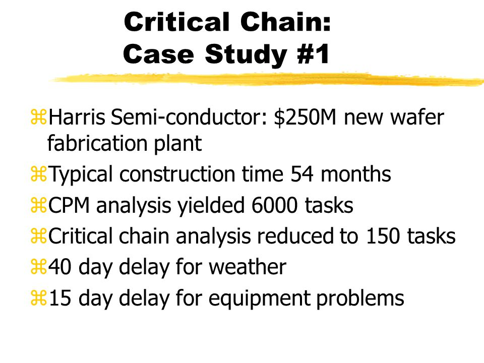Critical Chain: Case Study #1 zHarris Semi-conductor: $250M new wafer fabrication plant zTypical construction time 54 months zCPM analysis yielded 6000 tasks zCritical chain analysis reduced to 150 tasks z40 day delay for weather z15 day delay for equipment problems