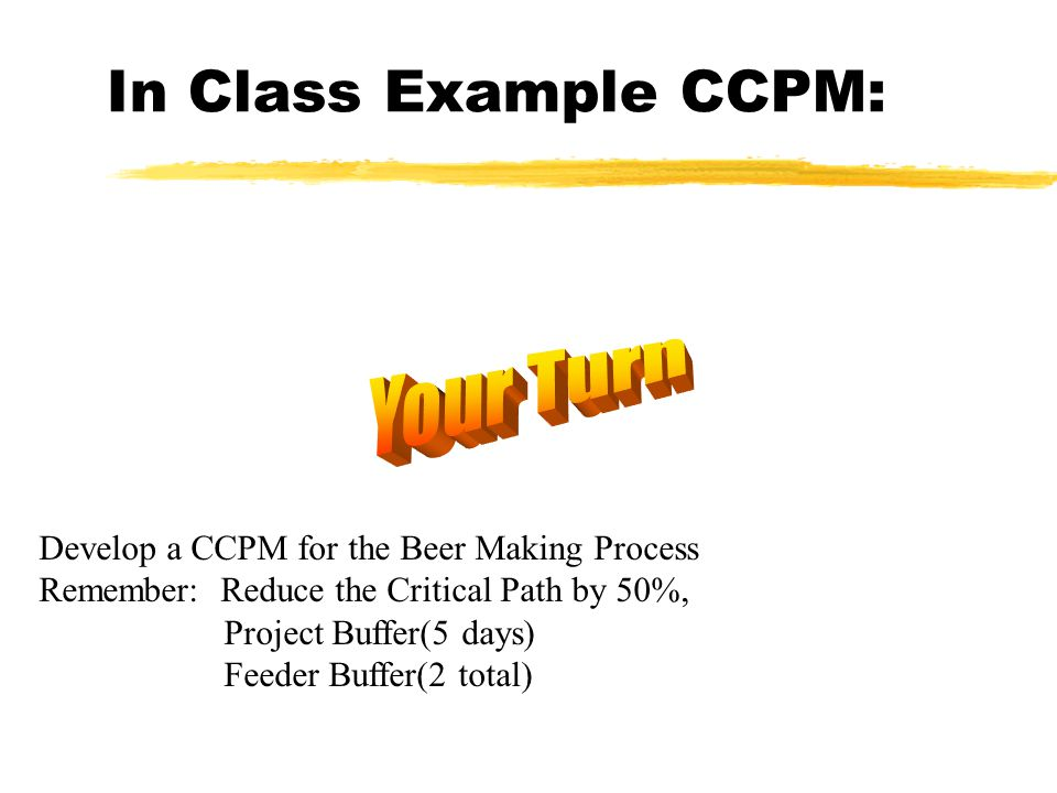 In Class Example CCPM: Develop a CCPM for the Beer Making Process Remember: Reduce the Critical Path by 50%, Project Buffer(5 days) Feeder Buffer(2 total)