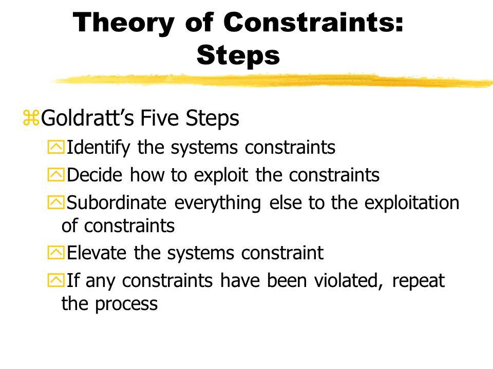 Theory of Constraints: Steps zGoldratt's Five Steps yIdentify the systems constraints yDecide how to exploit the constraints ySubordinate everything else to the exploitation of constraints yElevate the systems constraint yIf any constraints have been violated, repeat the process