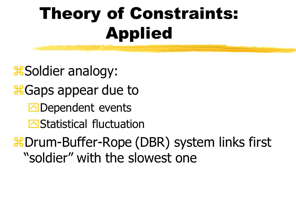 Theory of Constraints: Applied zSoldier analogy: zGaps appear due to yDependent events yStatistical fluctuation zDrum-Buffer-Rope (DBR) system links first soldier with the slowest one