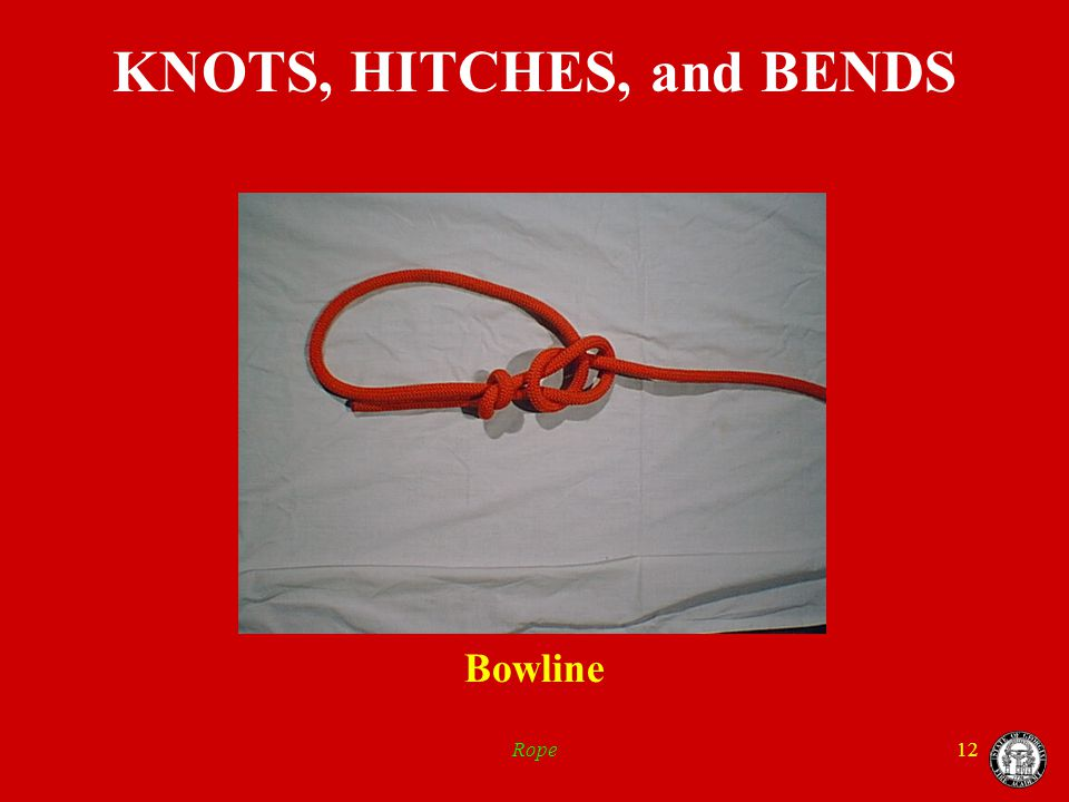 Rope12 KNOTS, HITCHES, and BENDS Bowline
