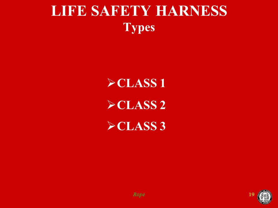 Rope19 LIFE SAFETY HARNESS Types  CLASS 1  CLASS 2  CLASS 3