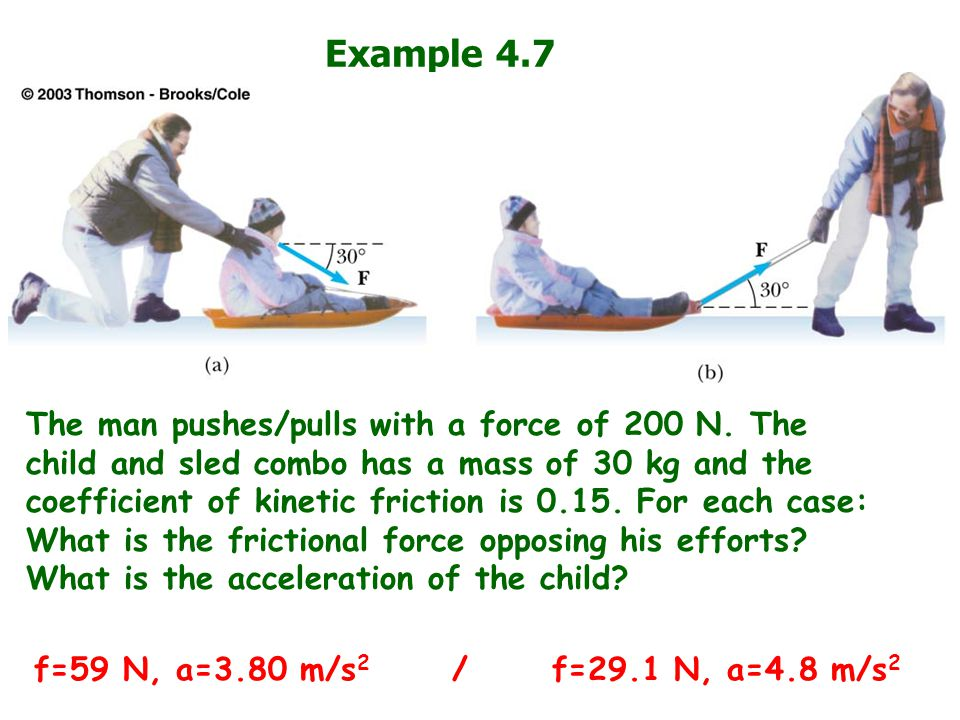 Example 4.7 The man pushes/pulls with a force of 200 N. The child and sled combo has a mass of 30 kg and the coefficient of kinetic friction is 0.15.