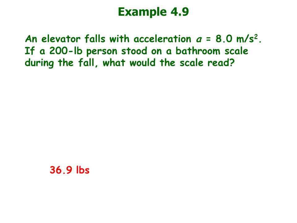 Example 4.9 An elevator falls with acceleration a = 8.0 m/s 2. If a 200-lb person stood on a bathroom scale during the fall, what would the scale read