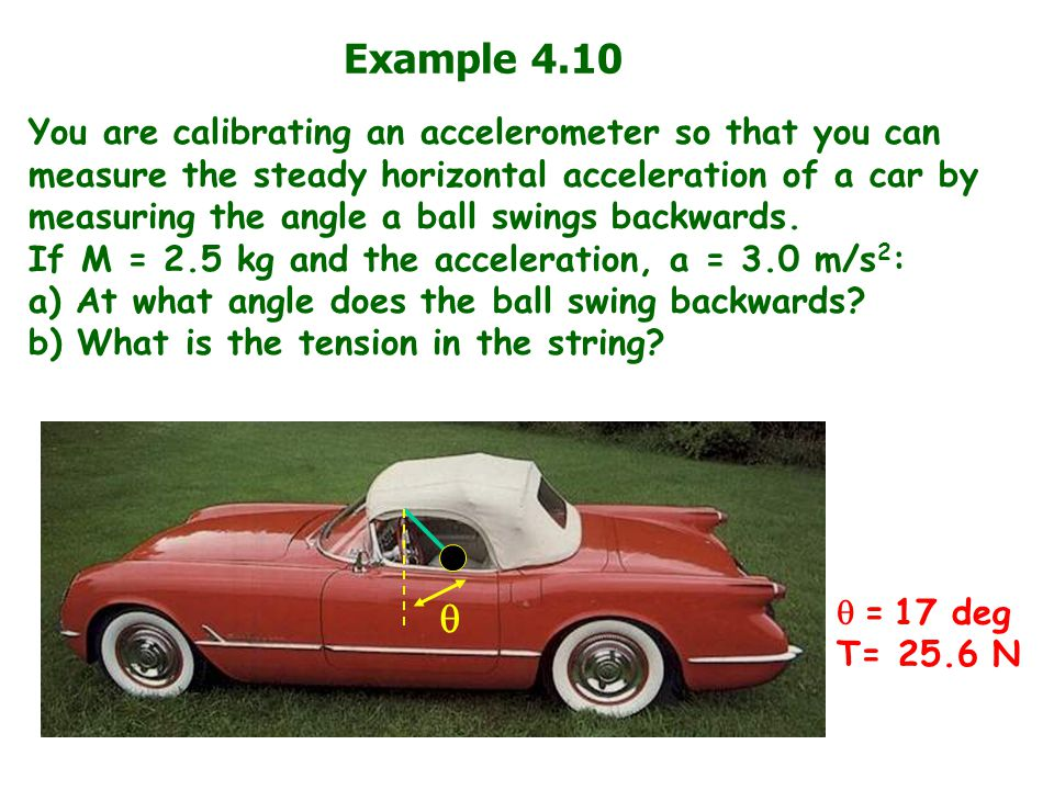 Example 4.10 You are calibrating an accelerometer so that you can measure the steady horizontal acceleration of a car by measuring the angle a ball sw