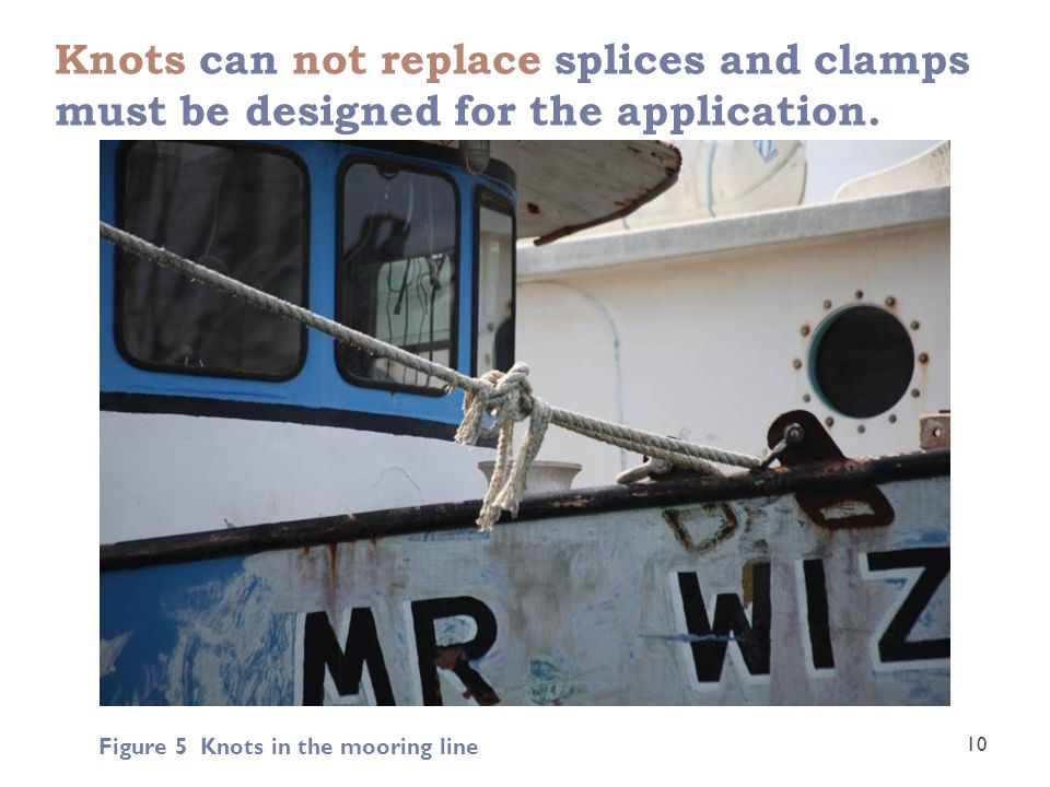 Knots can not replace splices and clamps must be designed for the application. 10 Figure 5 Knots in the mooring line