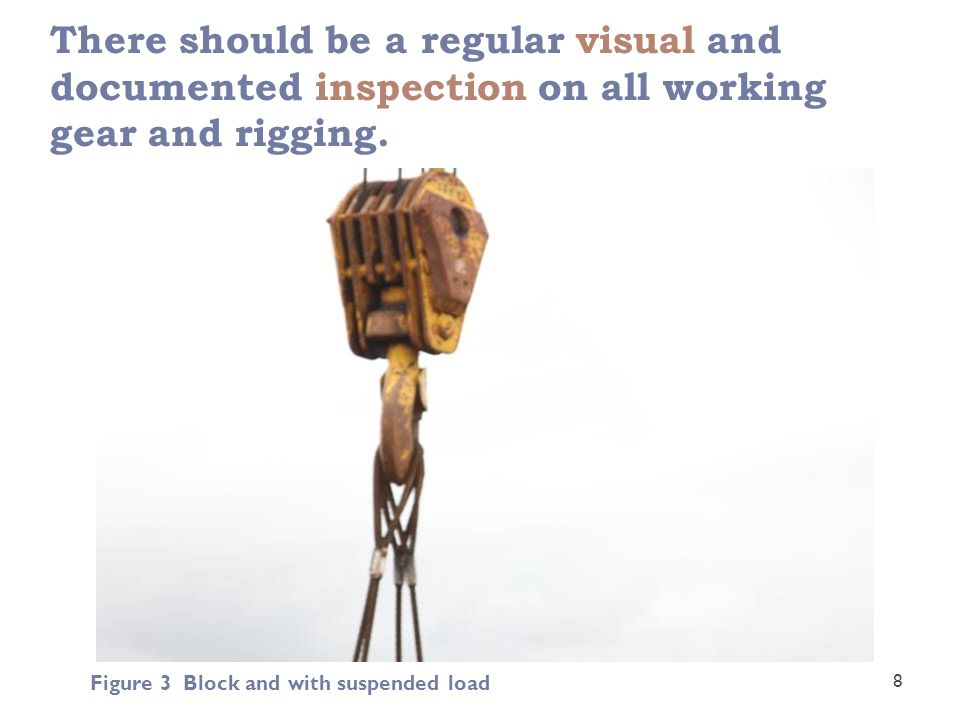 There should be a regular visual and documented inspection on all working gear and rigging. 8 Figure 3 Block and with suspended load