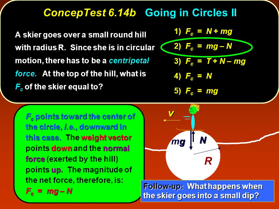 R v F c points toward the center of the circle, i.e., downward in this case.weight vector downnormal force up F c = mg – N F c points toward the cente