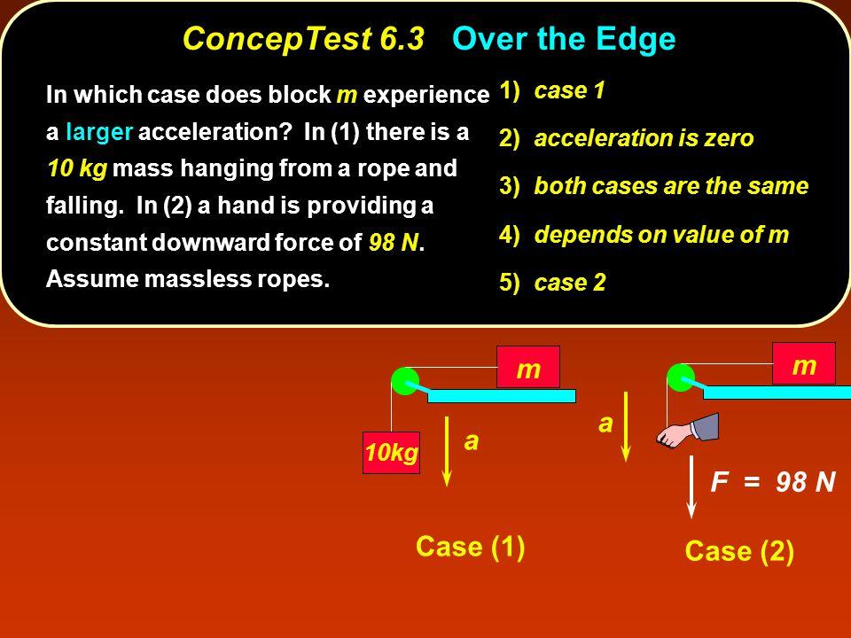ConcepTest 6.3Over the Edge ConcepTest 6.3 Over the Edge m 10kg a m a F = 98 N Case (1) Case (2) 1) case 1 2) acceleration is zero 3) both cases are t