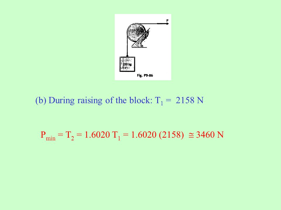 (b) During raising of the block: T 1 = 2158 N P min = T 2 = 1.6020 T 1 = 1.6020 (2158)  3460 N