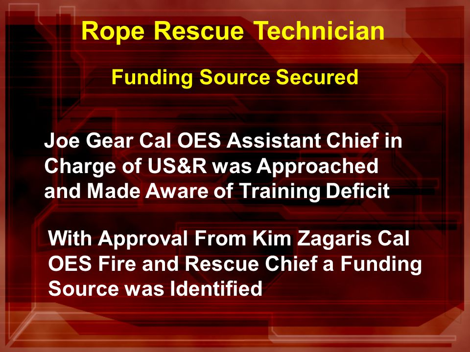 Affects the Following Resources FIRESCOPE Type 1 US&R Companies FIRESCOPE Type 1 US&R Crews Regional US&R Task Forces California US&R Task Forces FEMA US&R Task Forces All California Rescuers ROPE RESCUE TECHNICIAN
