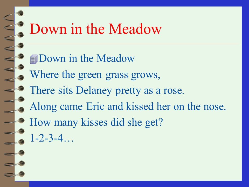 Down in the Valley 4 Down in the Valley where the green grass grows There sat Delaney as pretty as a rose Up came David and kissed her on the cheek Ho