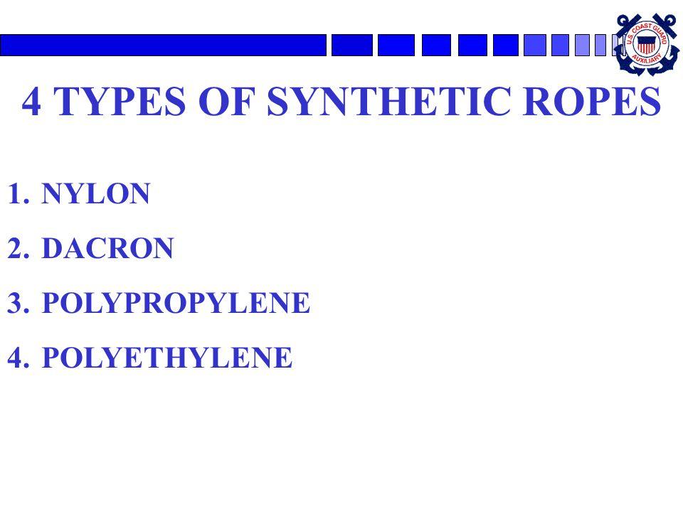 4 TYPES OF SYNTHETIC ROPES 1.NYLON 2.DACRON 3.POLYPROPYLENE 4.POLYETHYLENE