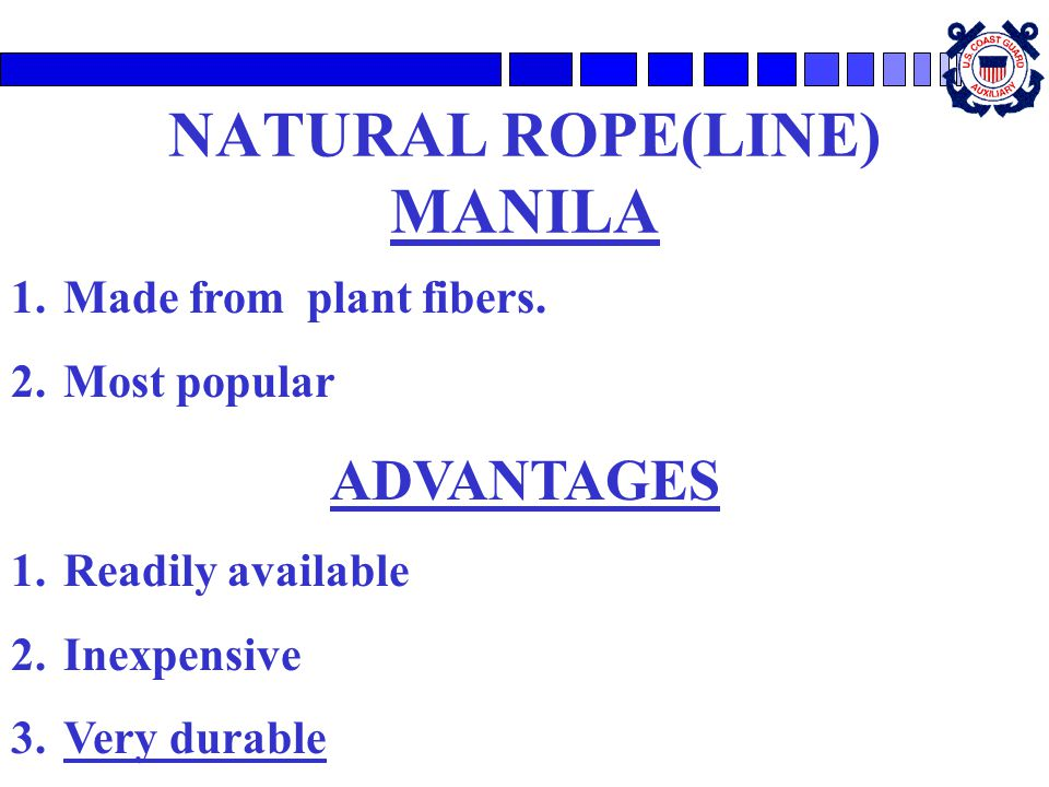 NATURAL ROPE(LINE) MANILA 1.Made from plant fibers.