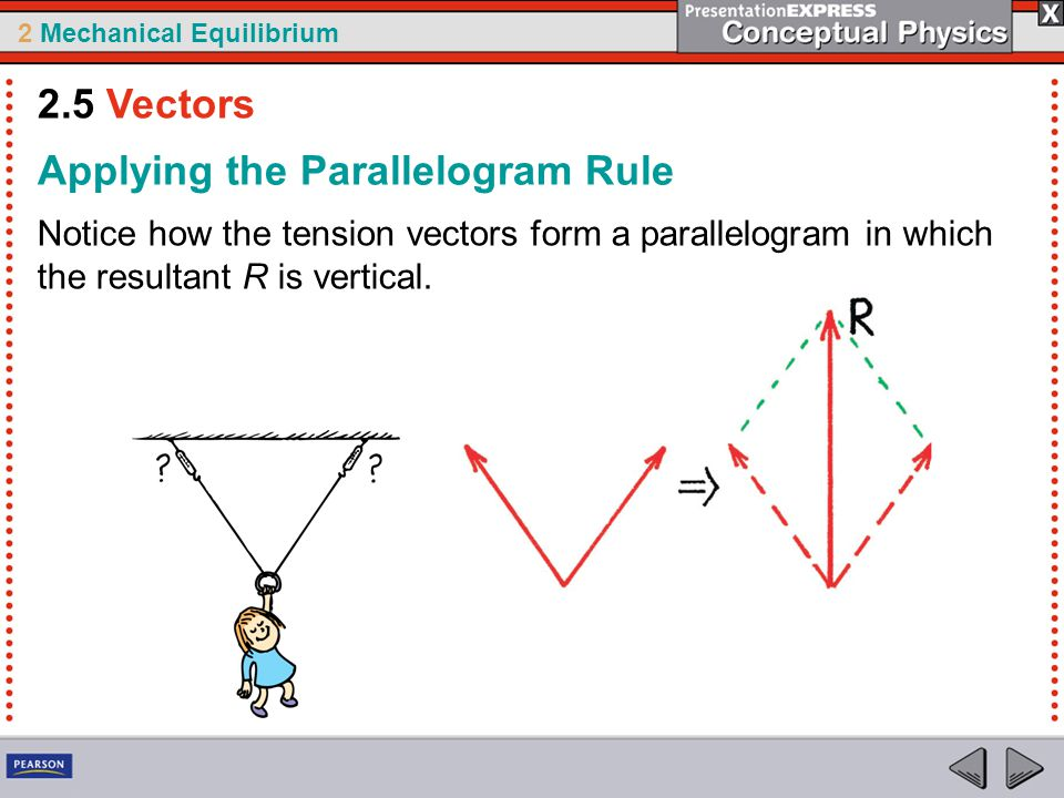 2 Mechanical Equilibrium Notice how the tension vectors form a parallelogram in which the resultant R is vertical. Applying the Parallelogram Rule 2.5