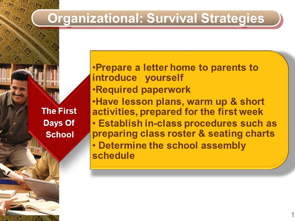 Organizational: Survival Strategies The First Days Of School School Prepare a letter home to parents to introduce yourself Required paperwork Have lesson plans, warm up & short activities, prepared for the first week Establish in-class procedures such as preparing class roster & seating charts Determine the school assembly schedule 17