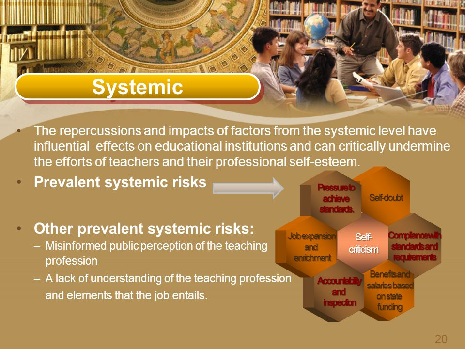 Systemic The repercussions and impacts of factors from the systemic level have influential effects on educational institutions and can critically undermine the efforts of teachers and their professional self-esteem.