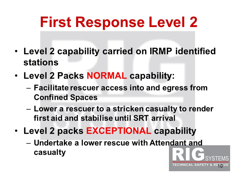 10 First Response Level 2 Level 2 capability carried on IRMP identified stations Level 2 Packs NORMAL capability: –Facilitate rescuer access into and egress from Confined Spaces –Lower a rescuer to a stricken casualty to render first aid and stabilise until SRT arrival Level 2 packs EXCEPTIONAL capability –Undertake a lower rescue with Attendant and casualty