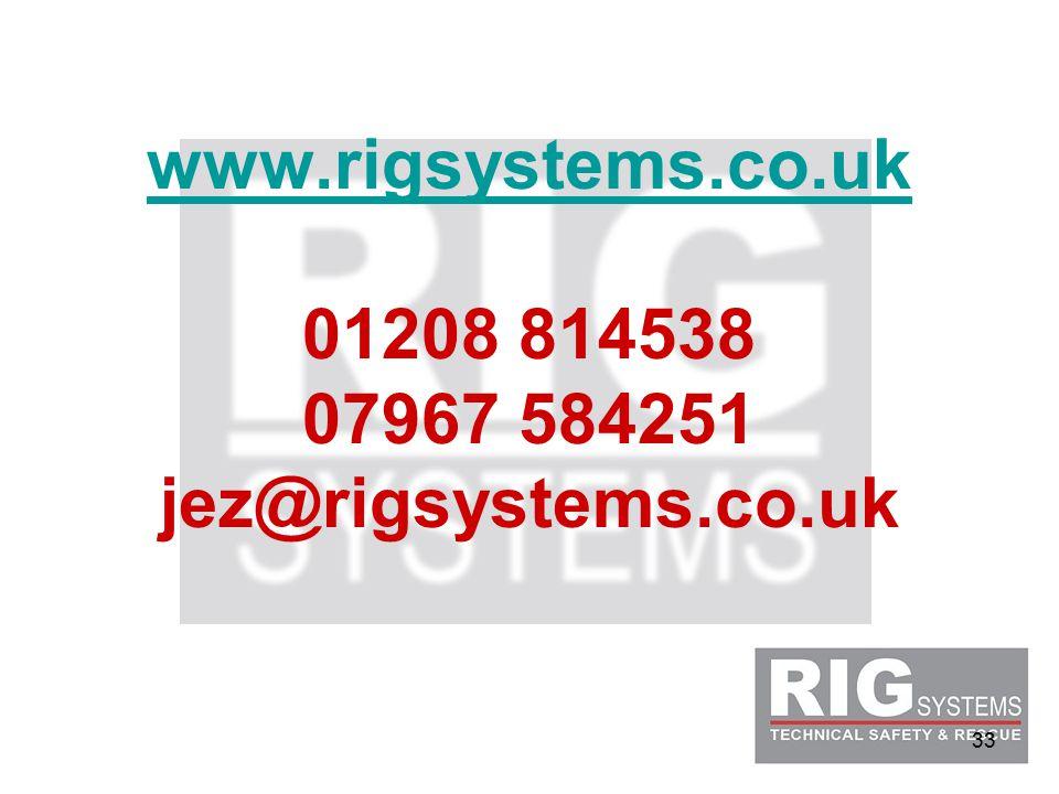 33 www.rigsystems.co.uk www.rigsystems.co.uk 01208 814538 07967 584251 jez@rigsystems.co.uk