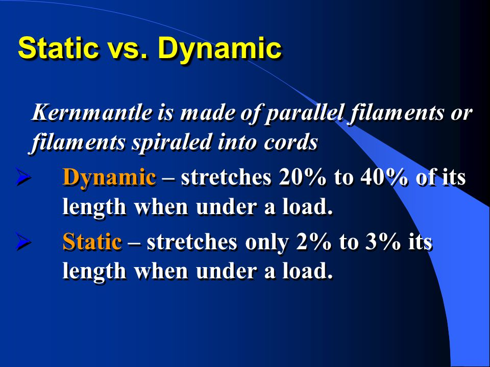 Static vs. Dynamic Kernmantle is made of parallel filaments or filaments spiraled into cords  Dynamic – stretches 20% to 40% of its length when under