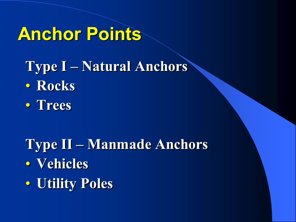 Anchor Points Type I – Natural Anchors Rocks Trees Type II – Manmade Anchors Vehicles Utility Poles Type I – Natural Anchors Rocks Trees Type II – Man