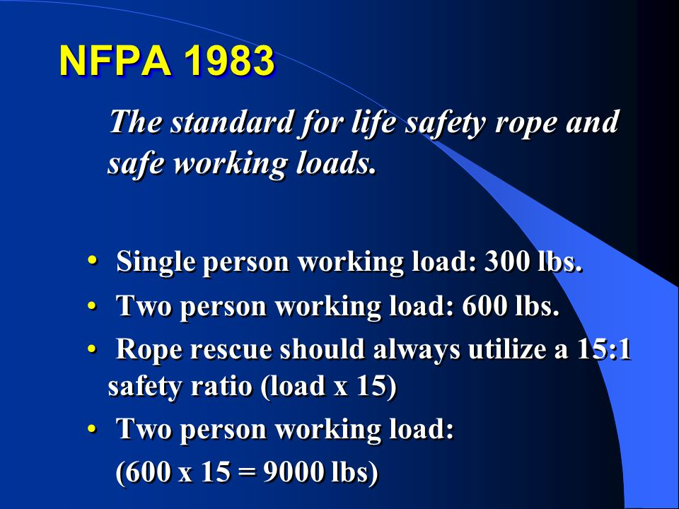 NFPA 1983 The standard for life safety rope and safe working loads. Single person working load: 300 lbs. Two person working load: 600 lbs. Rope rescue