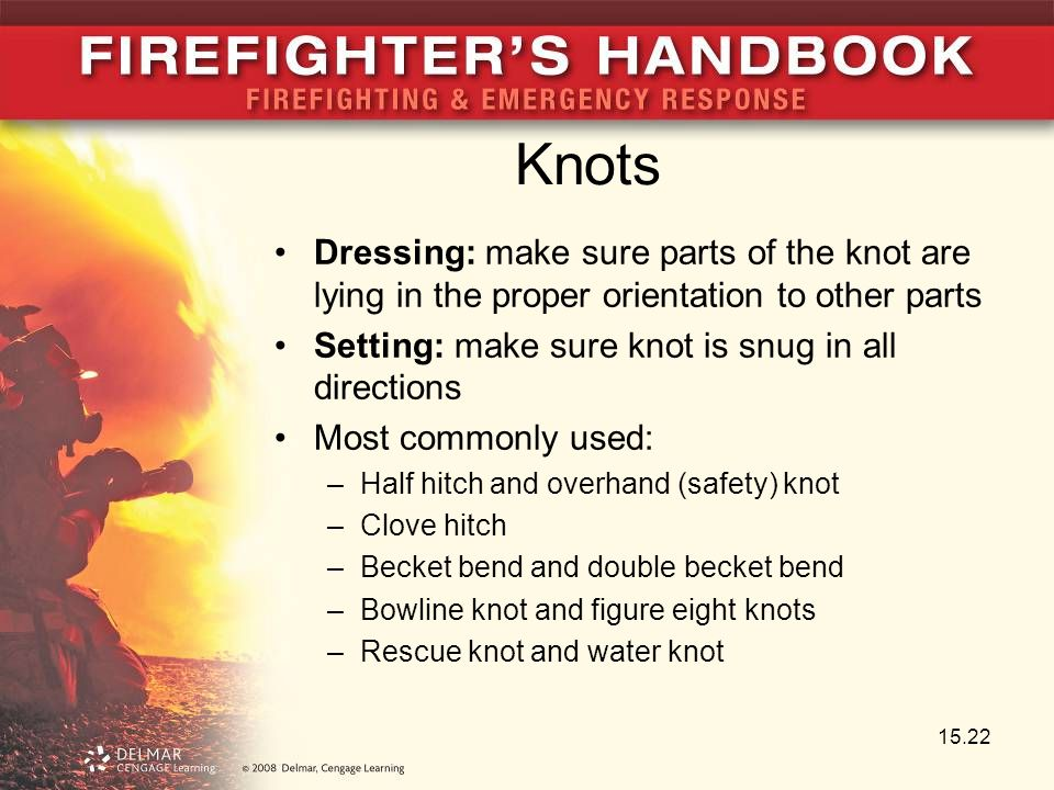 Knots Dressing: make sure parts of the knot are lying in the proper orientation to other parts Setting: make sure knot is snug in all directions Most